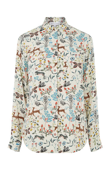 Warehouse, THISTLE PRINT SHIRT Cream 0