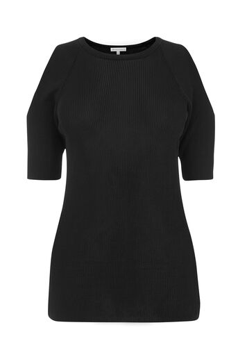 Warehouse, RIBBED COLD SHOULDER TOP Black 0