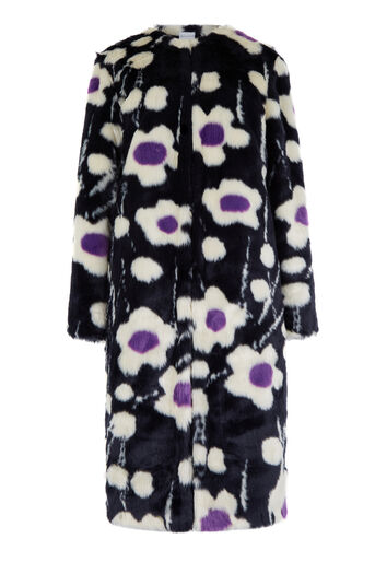 Warehouse, KYOTO FLORAL FAUX FUR COAT Multi 0