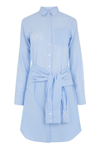 Warehouse, TIE WAIST MIXED FABRIC SHIRT Light Blue 0
