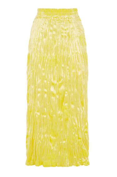 Warehouse, CRUSHED VELVET MIDI SKIRT Yellow 0