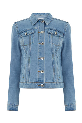 Warehouse, Crop Denim Jacket Light Wash Denim 0