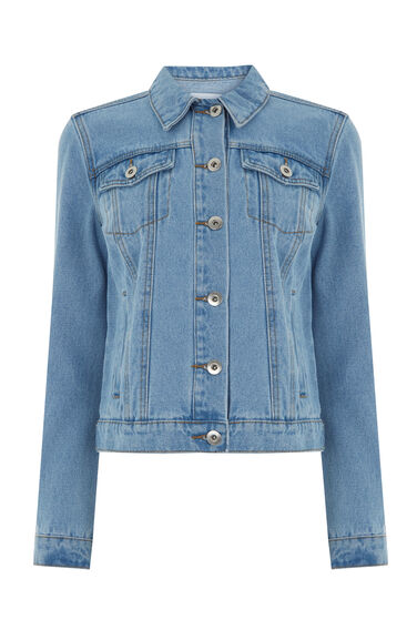 Warehouse, Short Denim Jacket Light Wash Denim 0