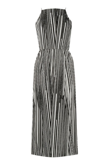 Warehouse, GEO PLISSE MIDI DRESS Black Stripe 0