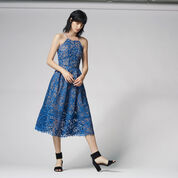 Warehouse, LACE HALTER DRESS Bright Blue 2