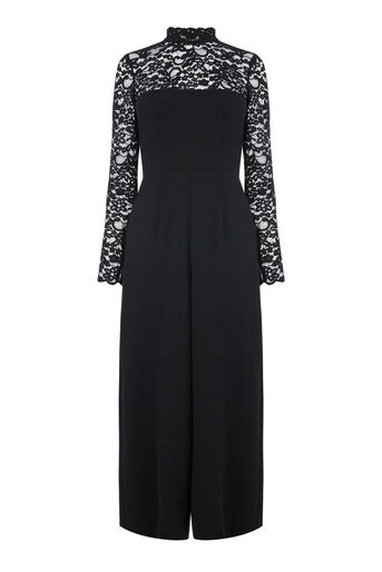 Warehouse, Jumpsuit met kanten top Zwart 0