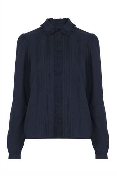 Warehouse, Lace Collar Ruffle Shirt Navy 0