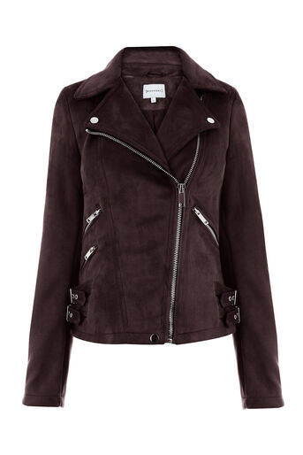 Warehouse, SUEDETTE BIKER JACKET Berry 0