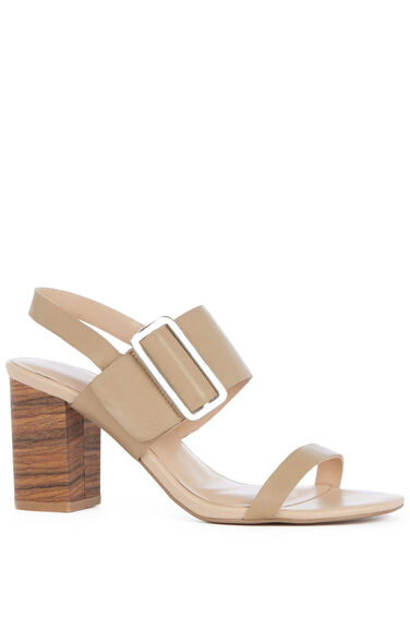 Warehouse, Triple Strap Stacked Sandal Beige 0