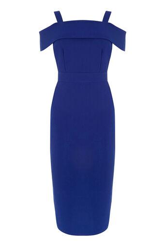 Warehouse, CREPE OFF SHOULDER DRESS Bright Blue 0