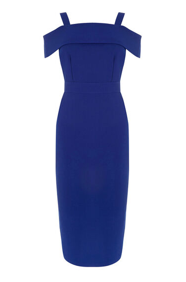 Warehouse, CREPE OFF SHOULDER DRESS Bright Blue 0