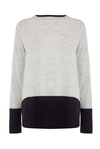 Warehouse, BLOCKED SPARKLE TRIM JUMPER Navy 0