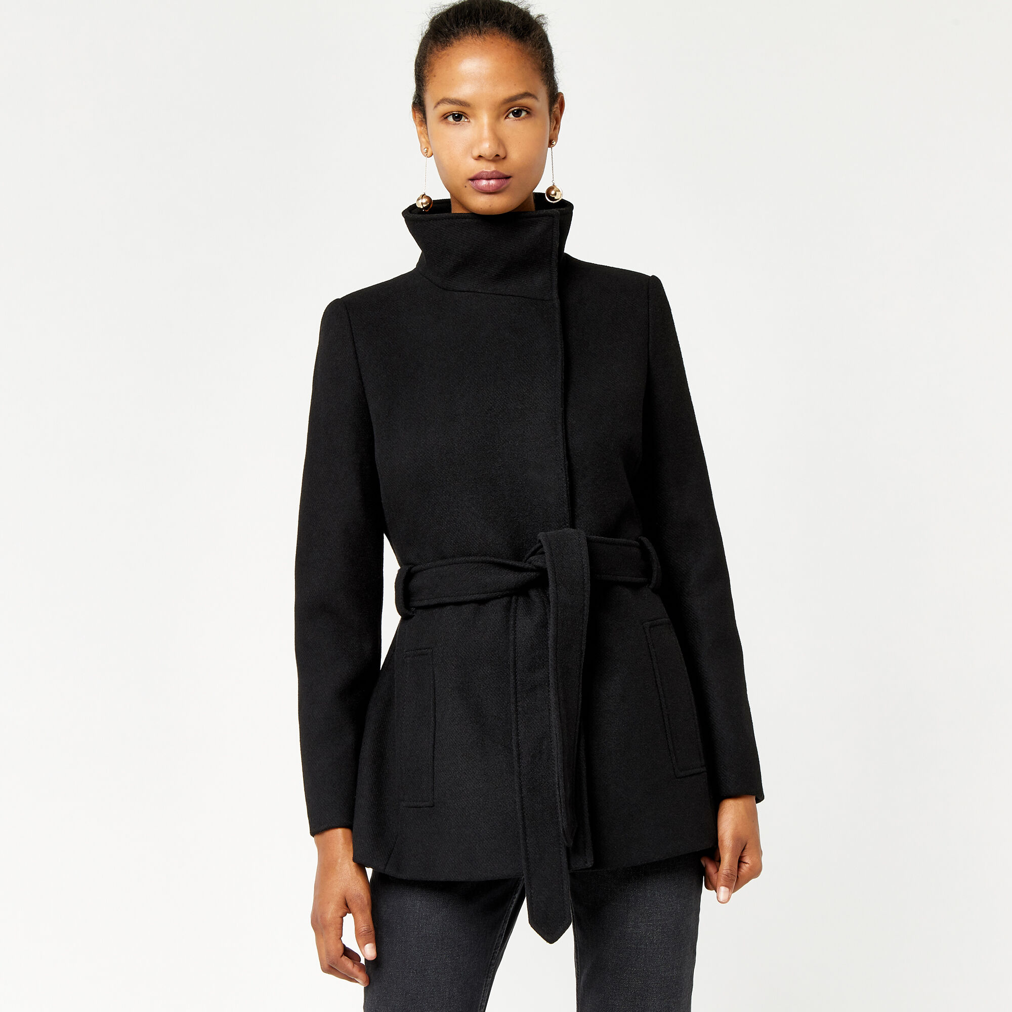 Warehouse, Short Funnel Coat Black 1