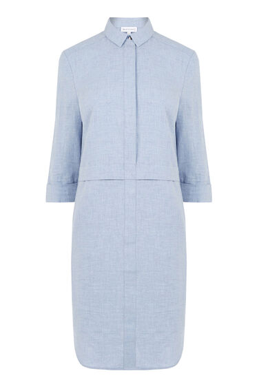 Warehouse, BRUSHED COTTON SHIRT DRESS Light Blue 0