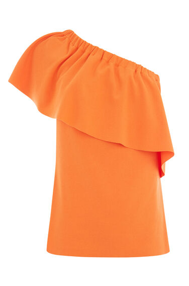 Warehouse, ONE SHOULDER CREPE FRILL TOP Orange 0