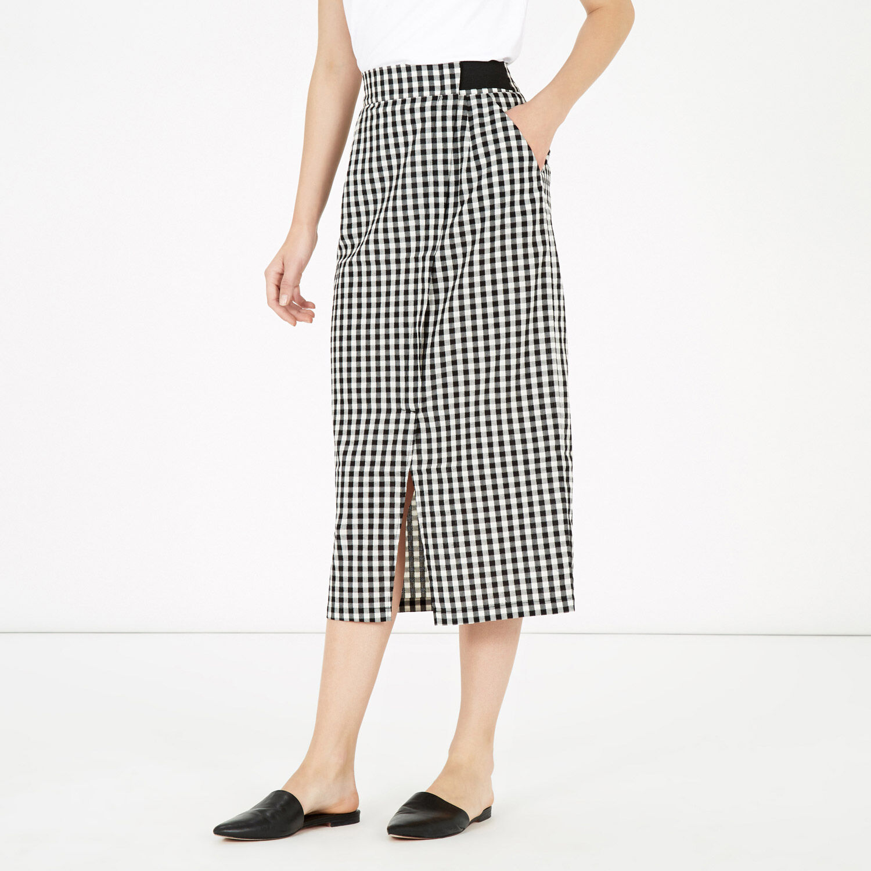 Warehouse, Gingham Wrap Skirt Black Pattern 1