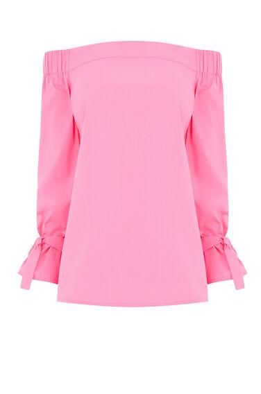 Warehouse, TIE STRAP BARDOT TOP Bright Pink 0