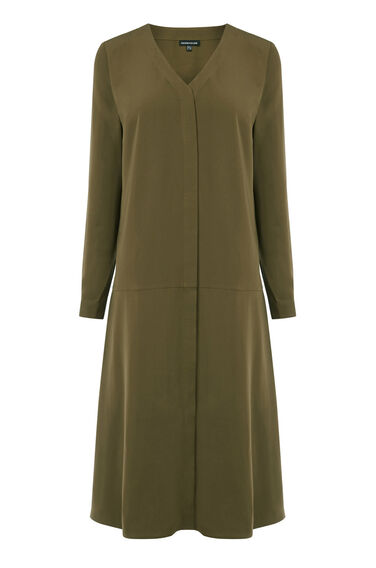 Warehouse, DROPPED WAIST SHIRT DRESS Khaki 0
