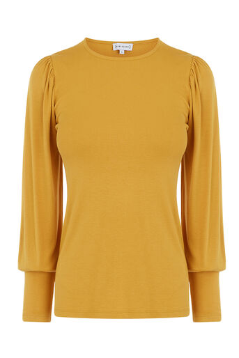 Warehouse, PUFF LONG SLEEVE TOP Mustard 0