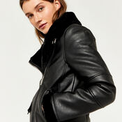 Warehouse, FAUX LEATHER BONDED BIKER Black 3