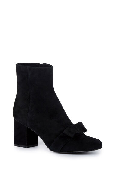 Warehouse, Bow Detail Block Ankle Boot Black 0