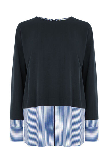 Warehouse, STRIPE HEM & CUFF TOP Navy 0