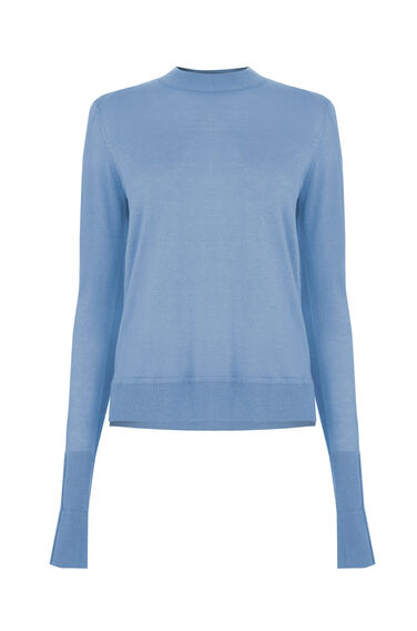 Warehouse, BOXY CREW JUMPER Light Blue 0