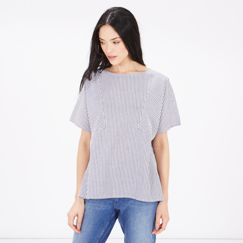 Warehouse, Stripe Cotton T-Shirt Blue Stripe 1