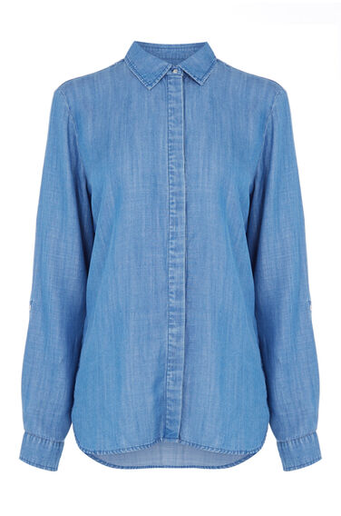 Warehouse, Drapey Denim Shirt Light Wash Denim 0
