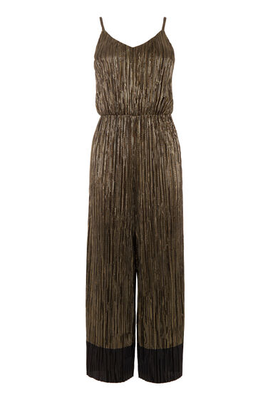 Warehouse, METALLIC PLISSE JUMPSUIT Black 0