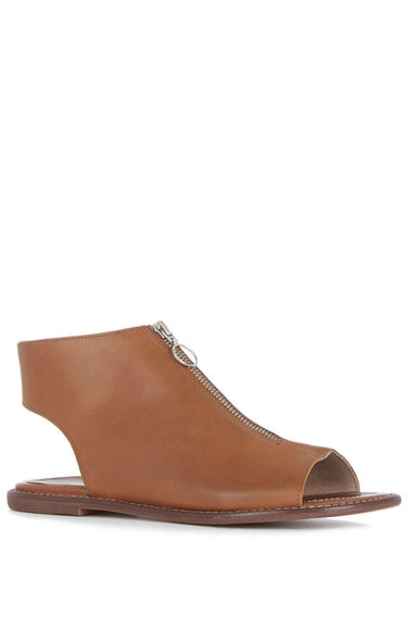 Warehouse, Zip Up Leather Shoe Tan 0