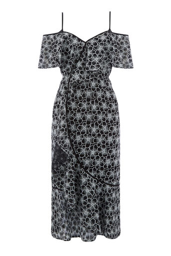 Warehouse, MONOCHROME LACE WRAP DRESS Multi 0