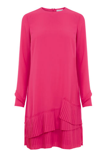 Warehouse, PLEATED HEM SHIFT DRESS Bright Pink 0