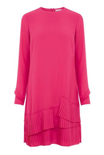 Warehouse, PLEATED HEM SHIFT DRESS Bright Pink 0