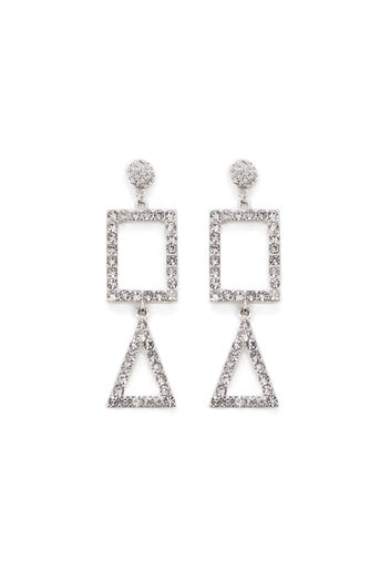 Warehouse, SQUARE DROP STATEMENT EARRING Silver Colour 0