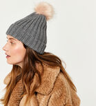 Warehouse, FAUX FUR POM HAT Light Grey 1