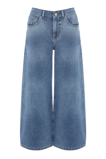 Warehouse, Wide Cut Jeans Mid Wash Denim 0