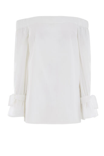 Warehouse, TIE STRAP BARDOT TOP White 0