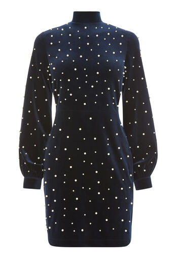 Warehouse, PEARL EMBELLISHED VELVET DRESS Navy 0