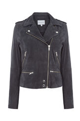 Warehouse, Suede Biker Jacket Dark Grey 0