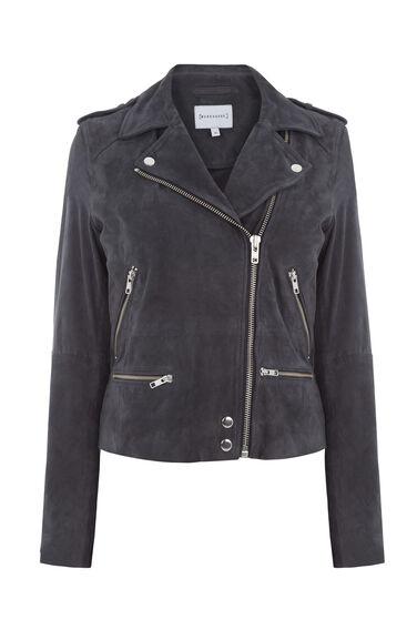 Warehouse, Suede Biker Jacket Dark Grey 0