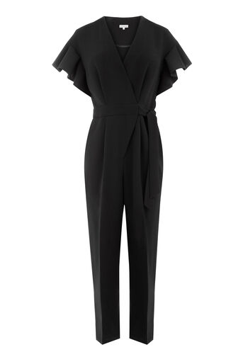 Warehouse, FRILL SLEEVE JUMPSUIT Black 0