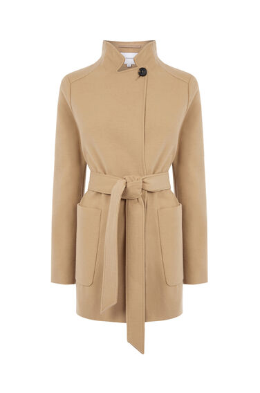 Warehouse, Short Asymmetric Coat Camel 0