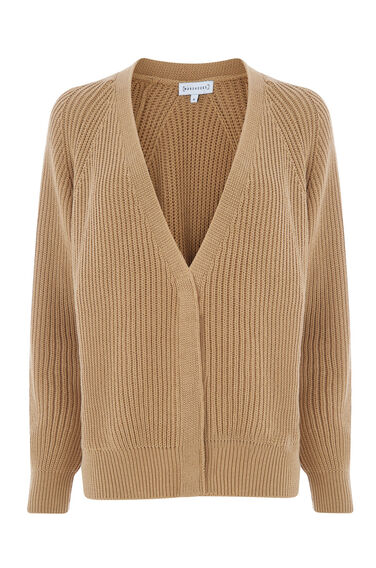 Warehouse, RIB POPPER CARDI Camel 0