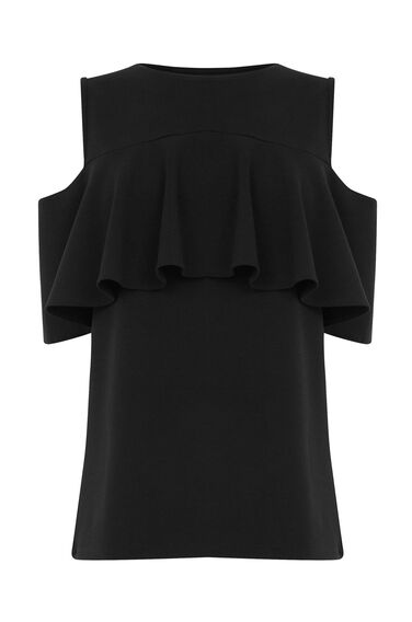 Warehouse, CREPE FRILL TOP Black 0