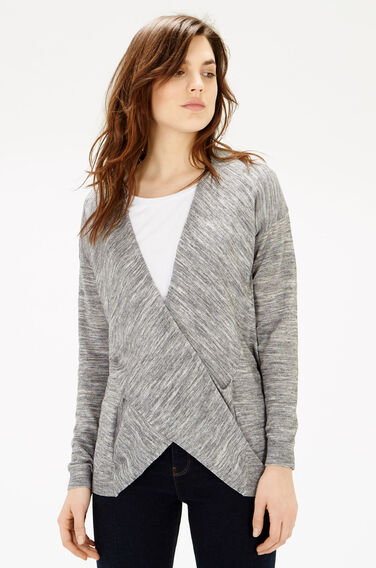 Warehouse, TWIST DRAPE FRONT TUNIC Grey Pattern 0