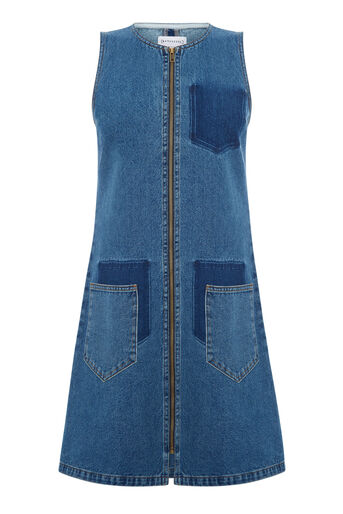 Warehouse, Shadow Pocket Denim Dress Mid Wash Denim 0