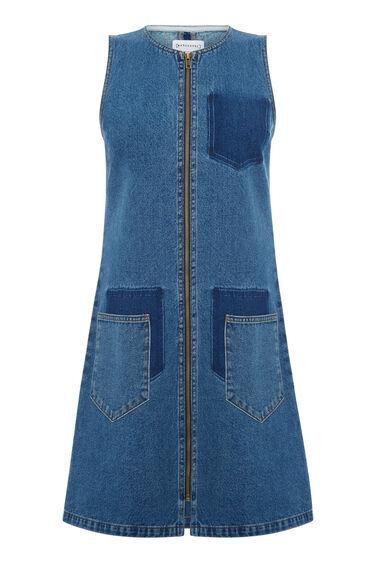 Warehouse, Shadow Pocket Denim Dress Mid Wash Denim 0