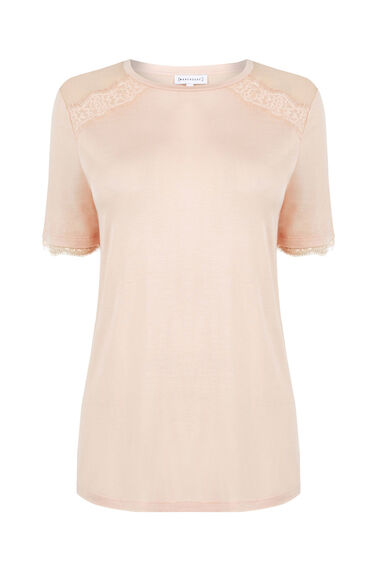 Warehouse, EYELASH LACE WOVEN MIX TEE Light Pink 0