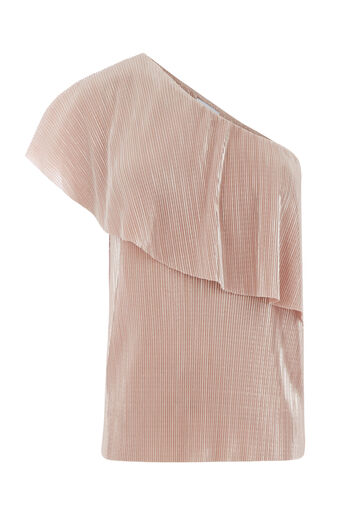 Warehouse, FOIL PLISSE ONE SHOULDER Light Pink 0